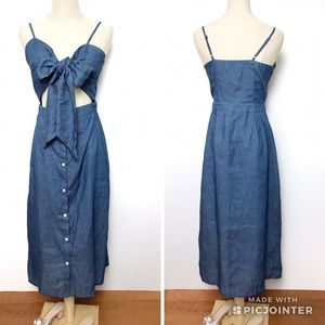 Missguided Tie Front Button Down Chambray Dress
